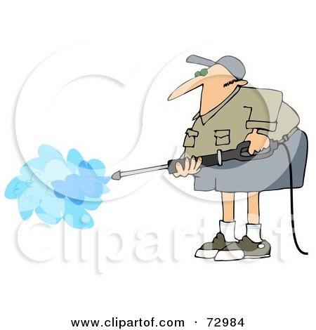 Royalty-Free (RF) Clipart Illustration of a Pressure Washer Man In Shorts And A Khaki Shirt by djart