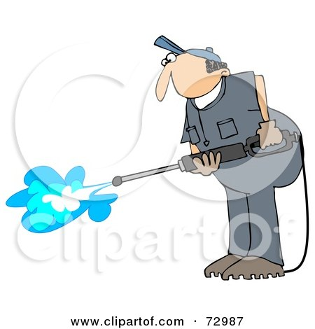 Royalty-Free (RF) Clipart Illustration of a Pressure Washer Man In A Blue Uniform by djart
