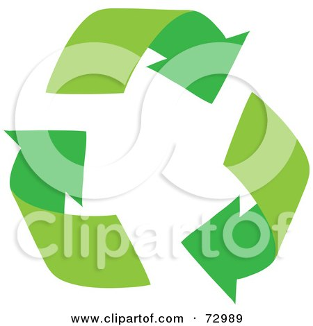 Royalty-Free (RF) Clipart Illustration of Three Green Arching Recycle Arrows by Rosie Piter