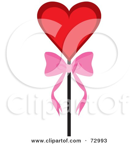 Royalty-Free (RF) Clipart Illustration of a Red Heart On A Stick With A Bow by Rosie Piter