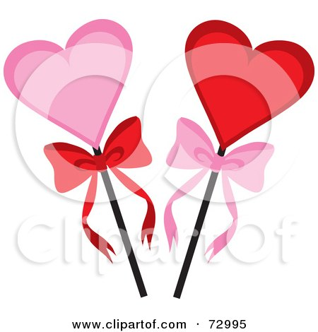 Royalty-Free (RF) Clipart Illustration of Pink And Red Hearts On A Stick With Bows by Rosie Piter