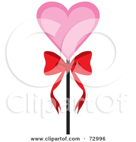 Royalty-Free (RF) Clipart Illustration of a Pink Heart On A Stick With A Bow by Rosie Piter