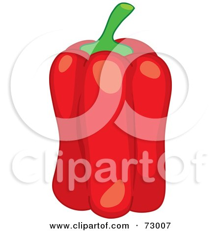 Royalty-Free (RF) Clipart Illustration of a Tall, Slender And Shiny Red Bell Pepper by Rosie Piter