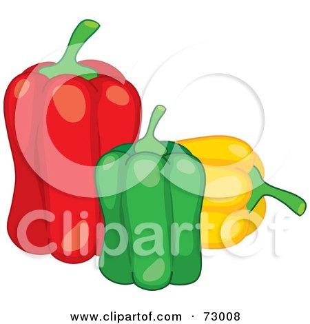 Royalty-Free (RF) Clipart Illustration of a Trio Of Red, Green And Yellow Bell Peppers by Rosie Piter