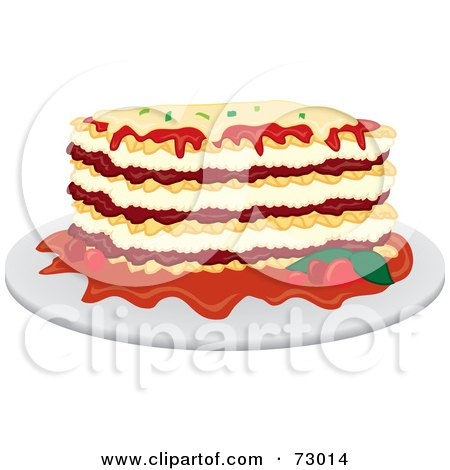 Royalty-Free (RF) Clipart Illustration of a Dinner Plate Of Lasagna by Rosie Piter