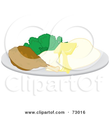 Royalty-Free (RF) Clipart Illustration of a Plate Of Buttery Mashed Potatoes, Broccoli And A Chicken Drumstick by Rosie Piter