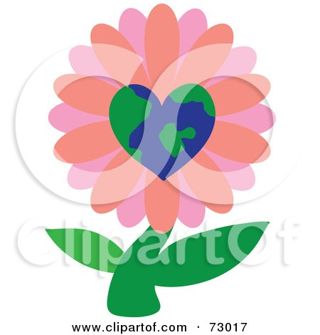 Royalty-Free (RF) Clipart Illustration of a Pink Heart Globe Flower On A Green Stem by Rosie Piter