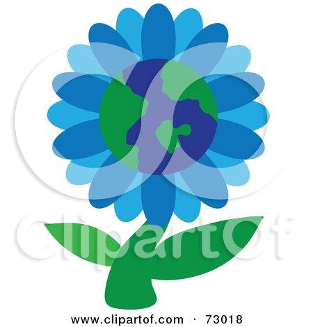 Royalty-Free (RF) Clip Art Illustration of a Blue Globe Flower On A Green Stem by Rosie Piter
