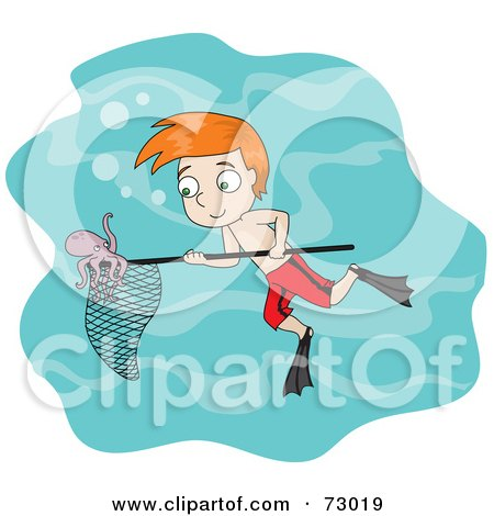 Royalty-Free (RF) Clipart Illustration of a Red Haired David Boy Swimming And Catching An Octopus In A Net by Rosie Piter