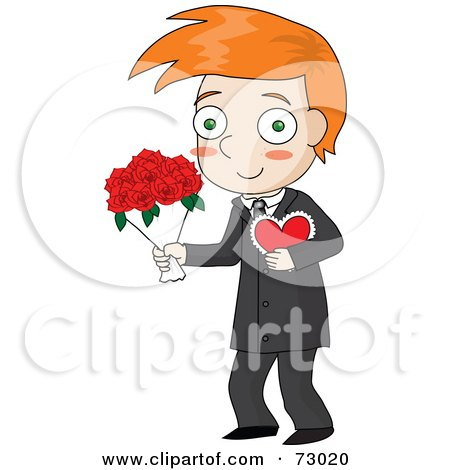 Royalty-Free (RF) Clipart Illustration of a Red Haired David Boy Carrying A Valentine And Flowers by Rosie Piter