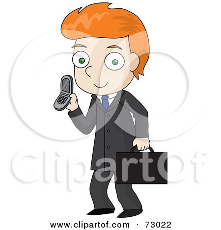 Royalty-Free (RF) Clipart Illustration of a Red Haired David Boy Businessman Talking On A Cell Phone by Rosie Piter