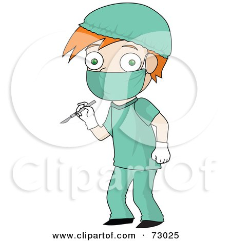 Royalty-Free (RF) Clipart Illustration of a Red Haired David Boy Surgeon In Scrubs by Rosie Piter