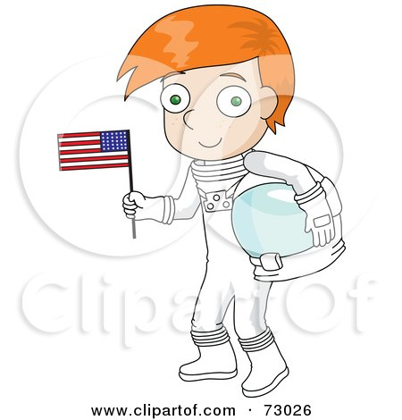 Royalty-Free (RF) Clipart Illustration of a Red Haired David Boy Astronaut Holding An American Flag by Rosie Piter