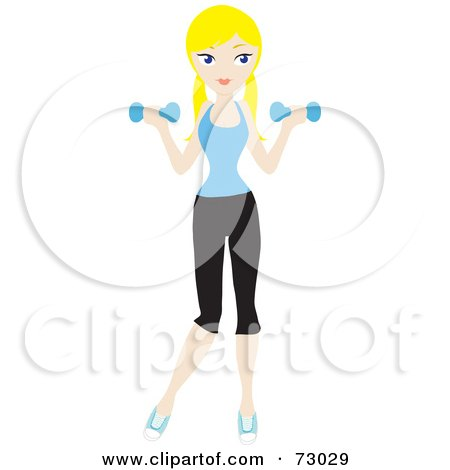 Royalty-Free (RF) Clipart Illustration of a Healthy Young Blond Woman Lifting Weights by Rosie Piter