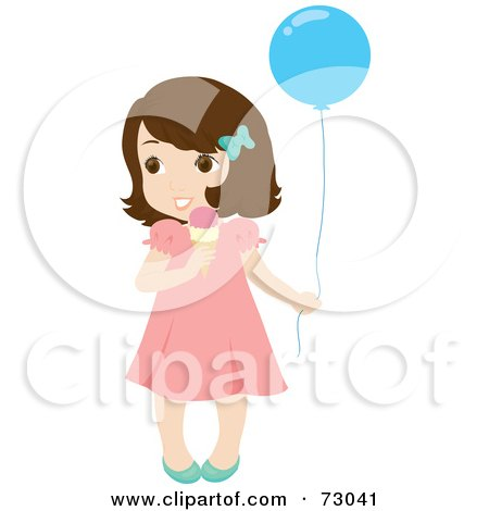 Royalty-Free (RF) Clipart Illustration of a Cute Little Brunette Girl Holding A Balloon And Eating An Ice Cream Cone by Rosie Piter