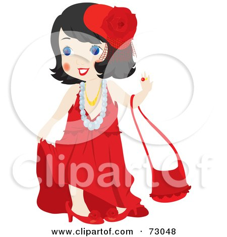 Royalty-Free (RF) Clip Art Illustration of a Cute Little Girl Playing Dress Up And Wearing Red by Rosie Piter