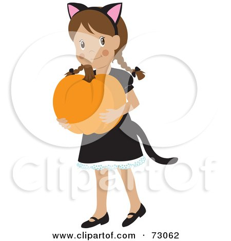 Royalty-Free (RF) Clipart Illustration of a Happy White Girl Carrying A Pumpkin And Wearing A Halloween Cat Costume by Rosie Piter