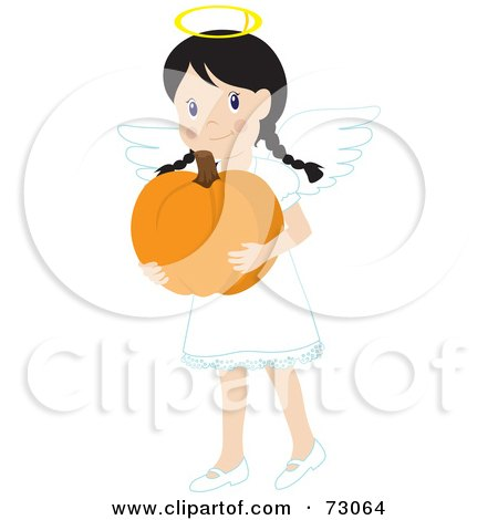 Royalty-Free (RF) Clipart Illustration of a Little Girl In An Angel Costume, Smiling And Carrying A Pumpkin by Rosie Piter