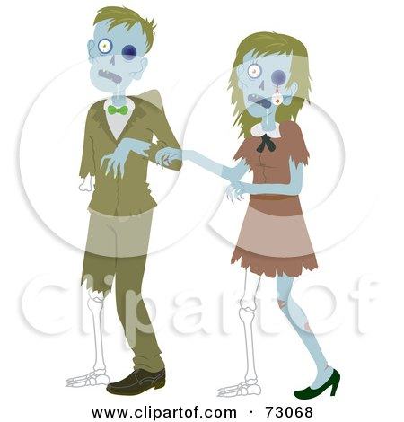 Royalty-Free (RF) Clipart Illustration of a Creepy Zombie Couple Walking by Rosie Piter