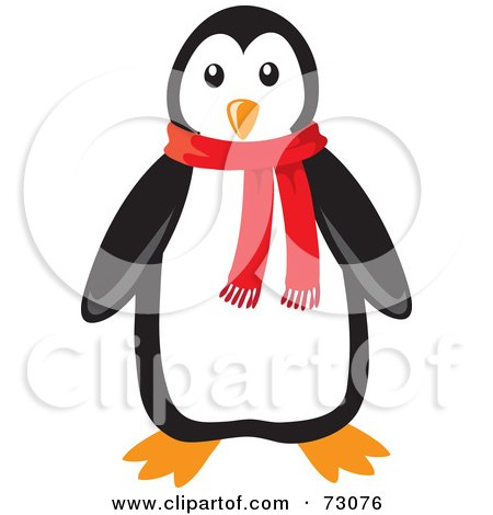 Royalty-Free (RF) Clipart Illustration of a Cute Black And White Penguin Wearing A Red Winter Scarf by Rosie Piter