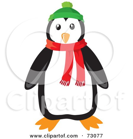 Royalty-Free (RF) Clipart Illustration of a Cute Black And White Penguin Wearing A Green Hat And Red Winter Scarf by Rosie Piter