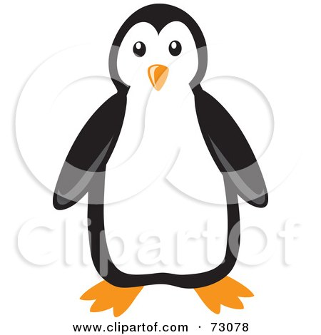 Royalty-Free (RF) Clipart Illustration of a Cute Black And White Penguin Bird Facing Front by Rosie Piter