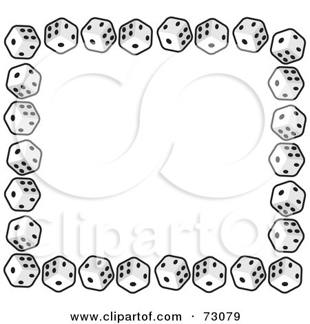 Royalty-Free (RF) Clipart Illustration of a Border Of Standard Black And White Cubic Dice by Rosie Piter