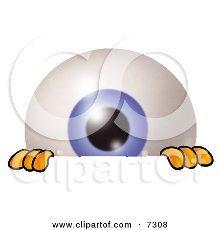 Clipart Picture of an Eyeball Mascot Cartoon Character Peeking Over a Surface by Toons4Biz