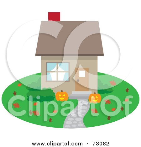Royalty-Free (RF) Clipart Illustration of a Little House With Autumn Leaves And Halloween Pumpkins On The Lawn by Rosie Piter