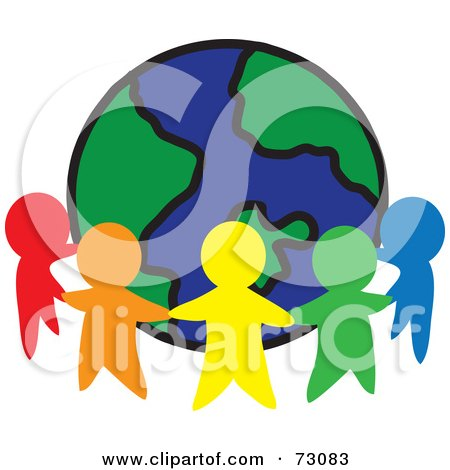 Royalty-Free (RF) Clipart Illustration of a Circle Of Colorful People Cutouts Around A Globe by Rosie Piter