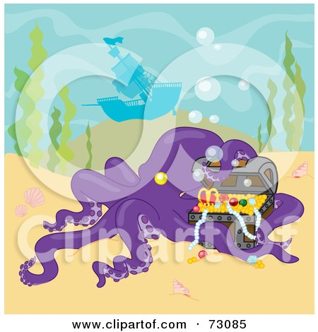 Royalty-Free (RF) Clipart Illustration of a Purple Octopus Curiously Inspecting A Treasure Near A Sunken Ship by Rosie Piter