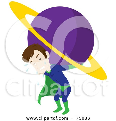 Royalty-Free (RF) Clipart Illustration of a Straining And Sweating Male Super Hero Carrying A Planet by Rosie Piter