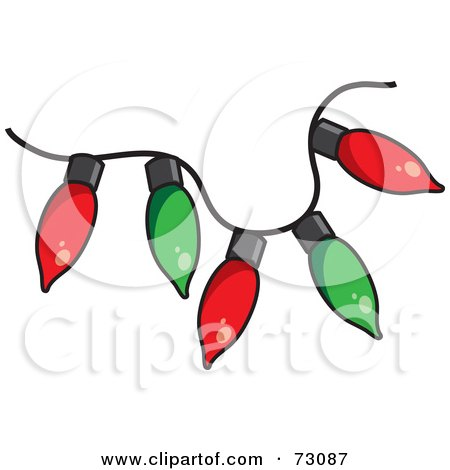 Royalty-Free (RF) Clipart Illustration of a Red And Green Strand Of Christmas Light Bulbs by Rosie Piter