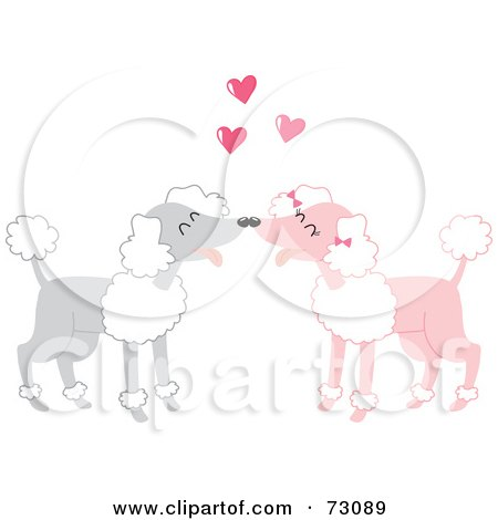 Royalty-Free (RF) Clipart Illustration of Two Gray And Pink Poodles In Love by Rosie Piter