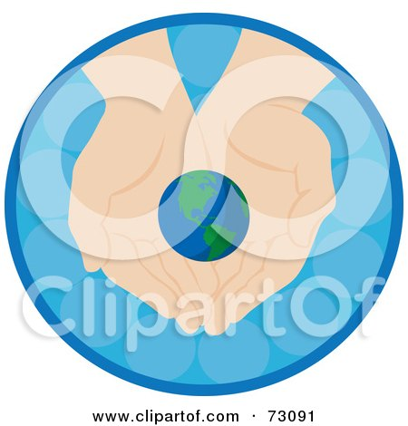 Royalty-Free (RF) Clipart Illustration of a Pair Of Nurturing Hands Holding A Small Earth In A Blue Circle by Rosie Piter