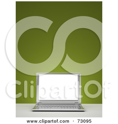 Royalty-Free (RF) Clipart Illustration of a 3d Silver Laptop Computer With A Blank Screen, Over Green - Version 1 by stockillustrations
