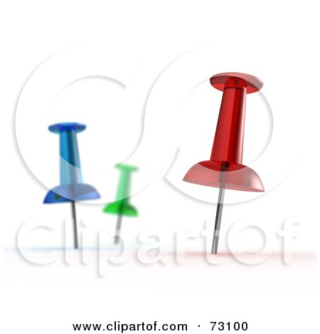 Royalty-Free (RF) Clipart Illustration of Three Colorful 3d Map Pins In White by stockillustrations