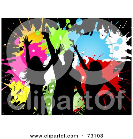 Royalty-Free (RF) Clipart Illustration of Black Silhouettes Of Dancers Over Colorful Grungy Splatters by KJ Pargeter