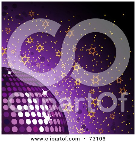 Royalty-Free (RF) Clipart Illustration of a Purple Background With A Sparkly Disco Ball And Orange Stars by elaineitalia