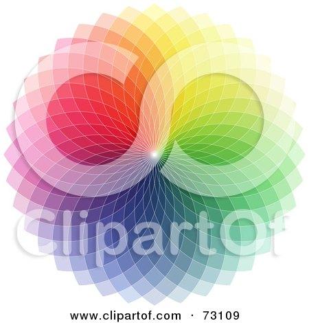 Royalty-Free (RF) Clipart Illustration of a Colorful Rainbow Spirograph Wheel On White by elaineitalia