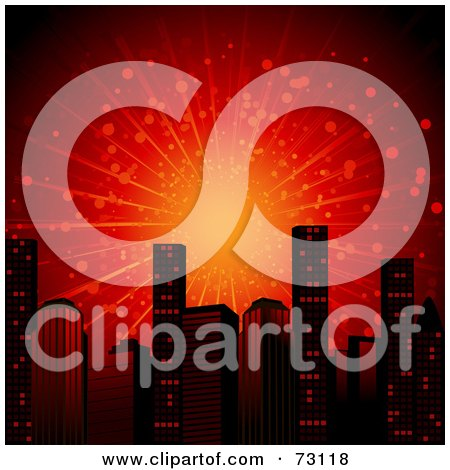 Royalty Free RF Clipart Illustration Of A Red Explosion Over City Skyscrapers