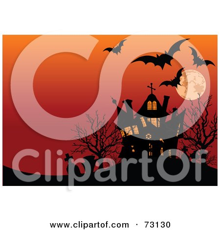 Royalty-Free (RF) Clipart Illustration of Bats, Tombstones And A Haunted House Silhouetted Under An Orange Full Moon Sky by Pushkin