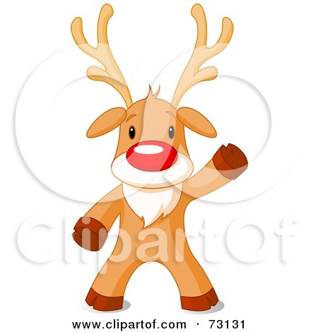 Royalty-Free (RF) Clipart Illustration of a Cute Rudolph The Red Nosed Reindeer Standing And Waving by Pushkin