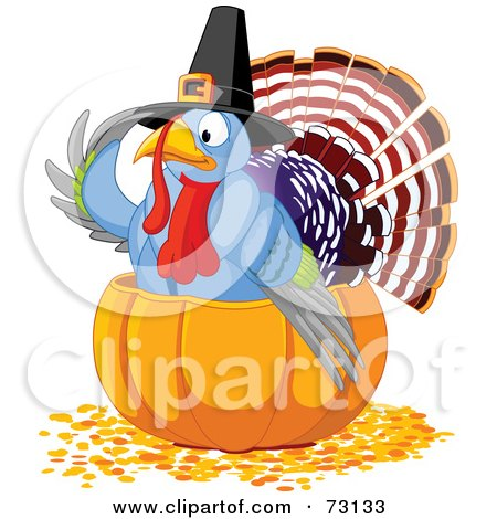 Royalty-Free (RF) Clipart Illustration of a Cute Thanksgiving Turkey Wearing A Pilgrim Hat And Sitting In A Pumpkin by Pushkin