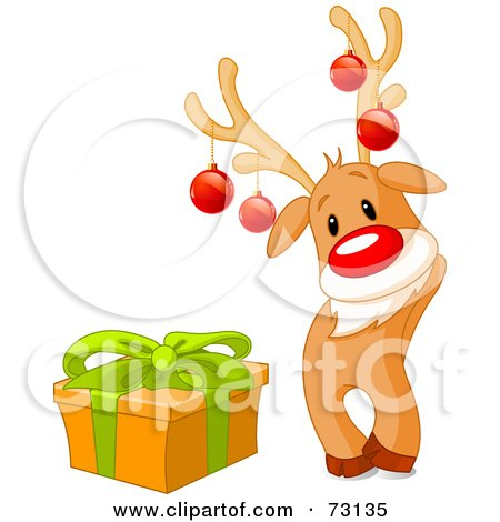 Royalty-Free (RF) Clipart Illustration of a Cute Rudolph The Red Nosed Reindeer Wearing Baubles And Standing By A Present by Pushkin