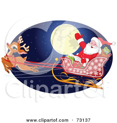 Royalty-Free (RF) Clipart Illustration of Santa And Rudolph Flying In Front Of A Full Moon On The Eve Of Christmas by Pushkin
