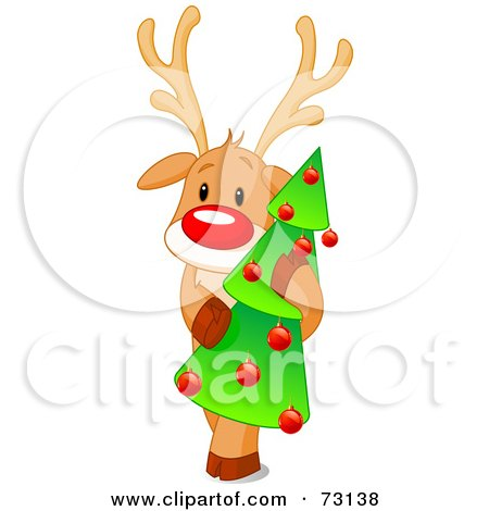 Royalty-Free (RF) Clip Art Illustration of a Cute Rudolph The Red Nosed Reindeer Hugging A Christmas Tree by Pushkin