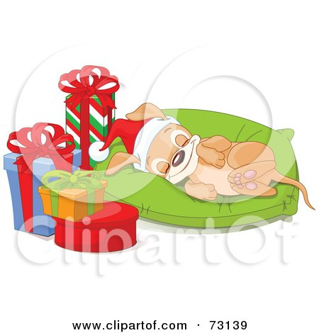 Royalty-Free (RF) Clipart Illustration of an Adorable Christmas Puppy Wearing A Santa Hat And Sleeping On A Pillow By Presents by Pushkin