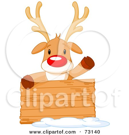 Royalty-Free (RF) Clipart Illustration of a Cute Rudolph The Red Nosed Reindeer Behind A Blank Wood Sign by Pushkin