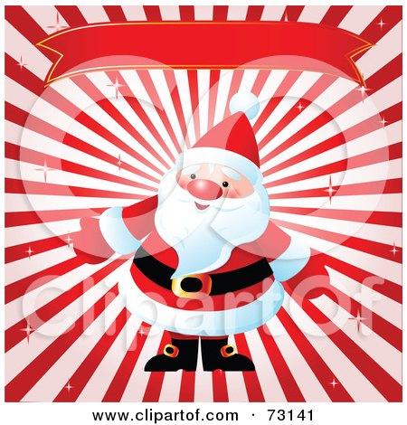 Santa Under A Red Banner On A Bursting Background Posters, Art Prints